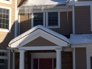 Roof Snow with Ice Dam Formation