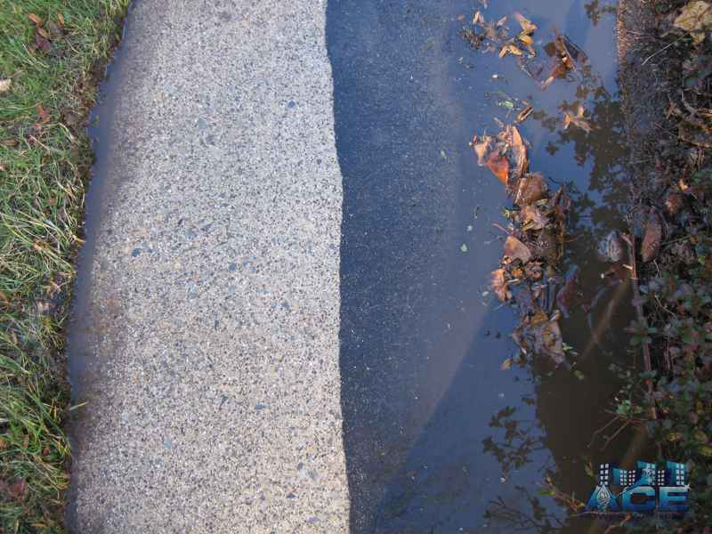Before/After picture of cleaned concrete surface in Scotch Plains, NJ