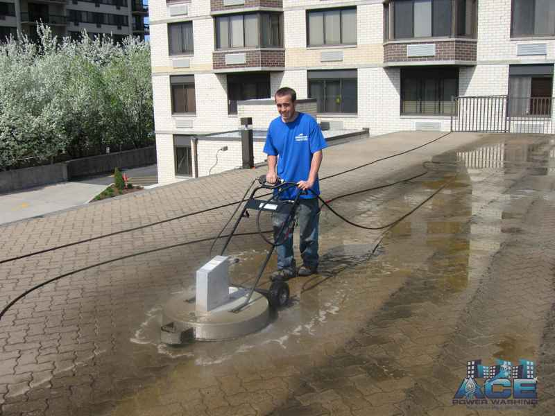 Power Washing of concrete pool pavers in Hackensack, NJ