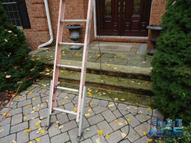 Limestone cleaning of step in Emerson, NJ