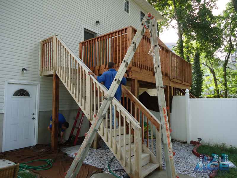 Cleaned cedar deck stained with oil based stain in Hackensack, NJ