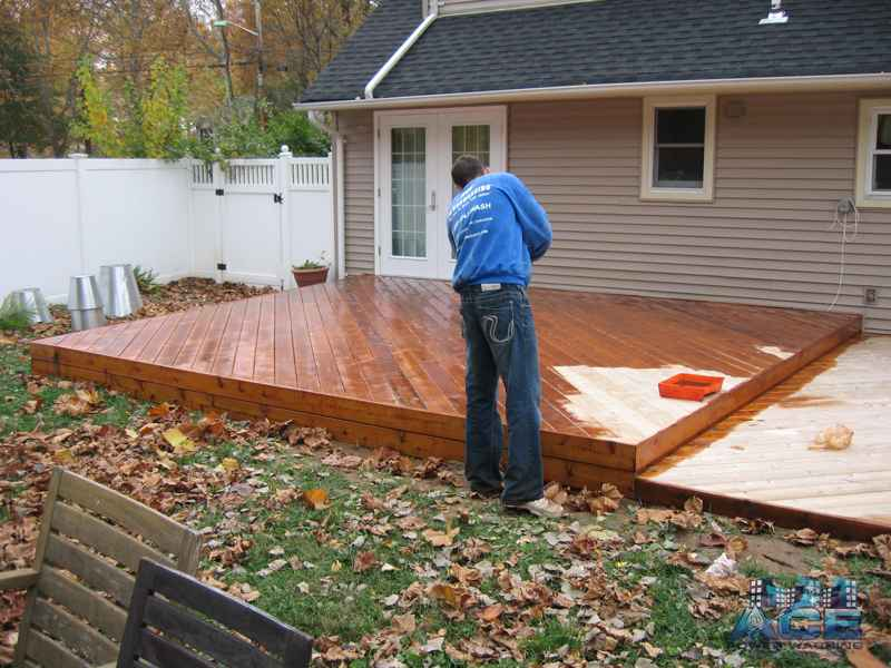 Deck Staining of Mahogany Deck in Ridgewood, NJ