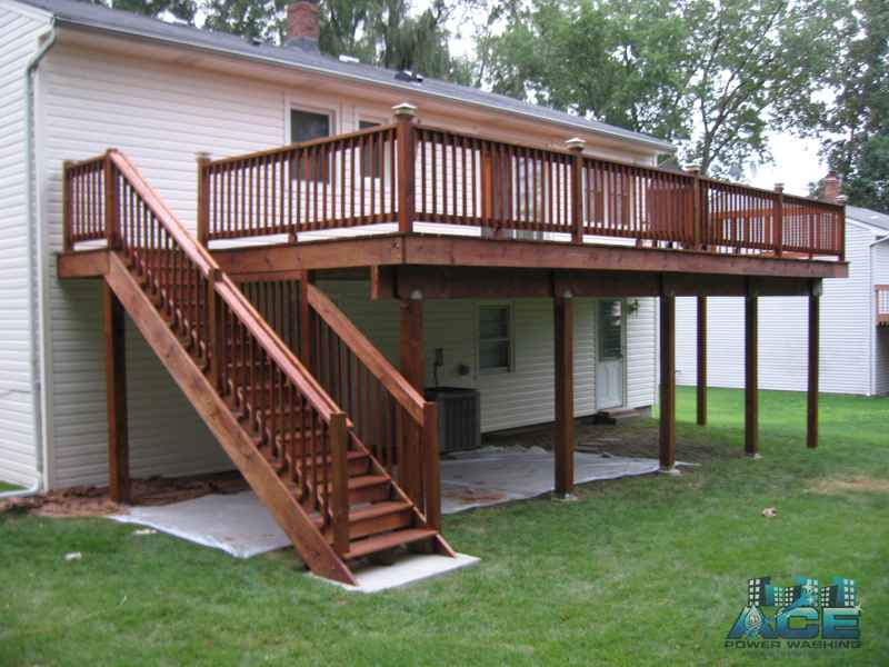 Complete Deck Staining of Pressure Treated Deck with Oil Based Stain in Cresskill, NJ