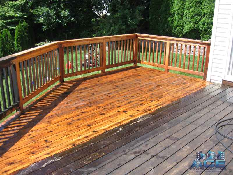 Deck Cleaning of Cedar Deck in East Rutherford, NJ