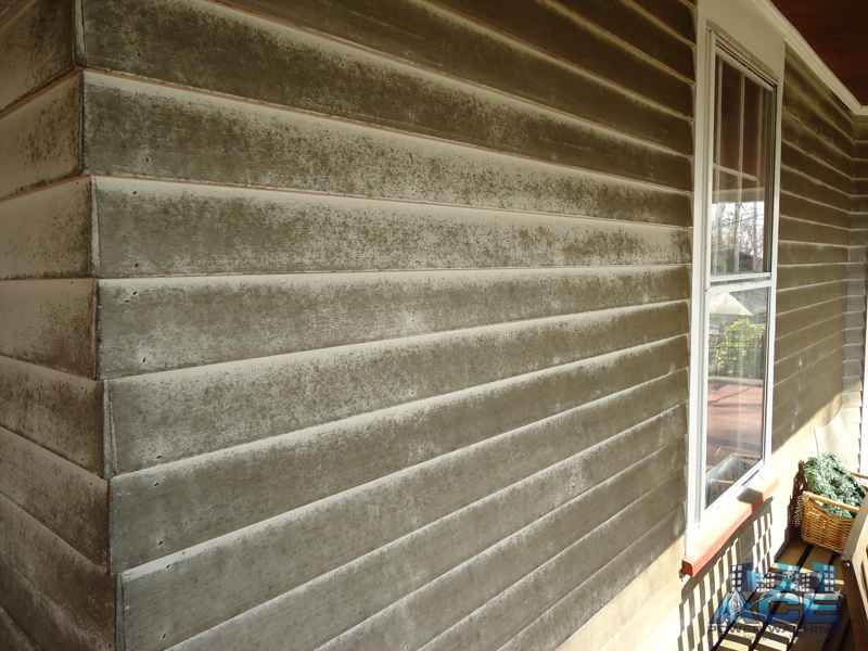 Mold covered paint of wooden siding on house in Monclair, NJ