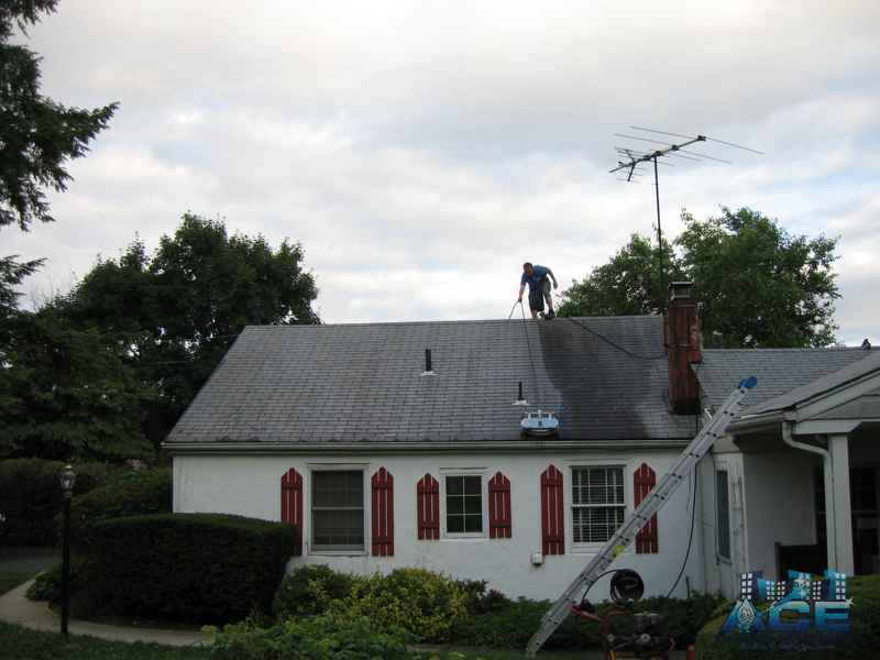 Roof Cleaning in Wayne, NJ using Low Pressure Surface Washer to Clean Roof