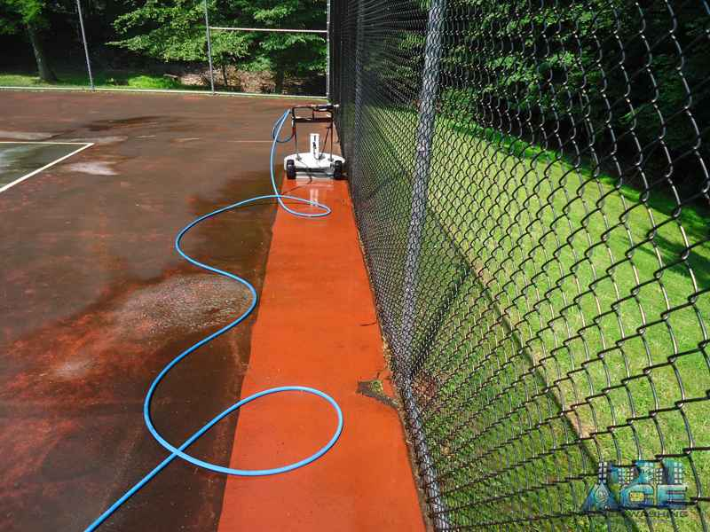 Tennis Court Cleaning with power washing machine in Ridgewood, NJ